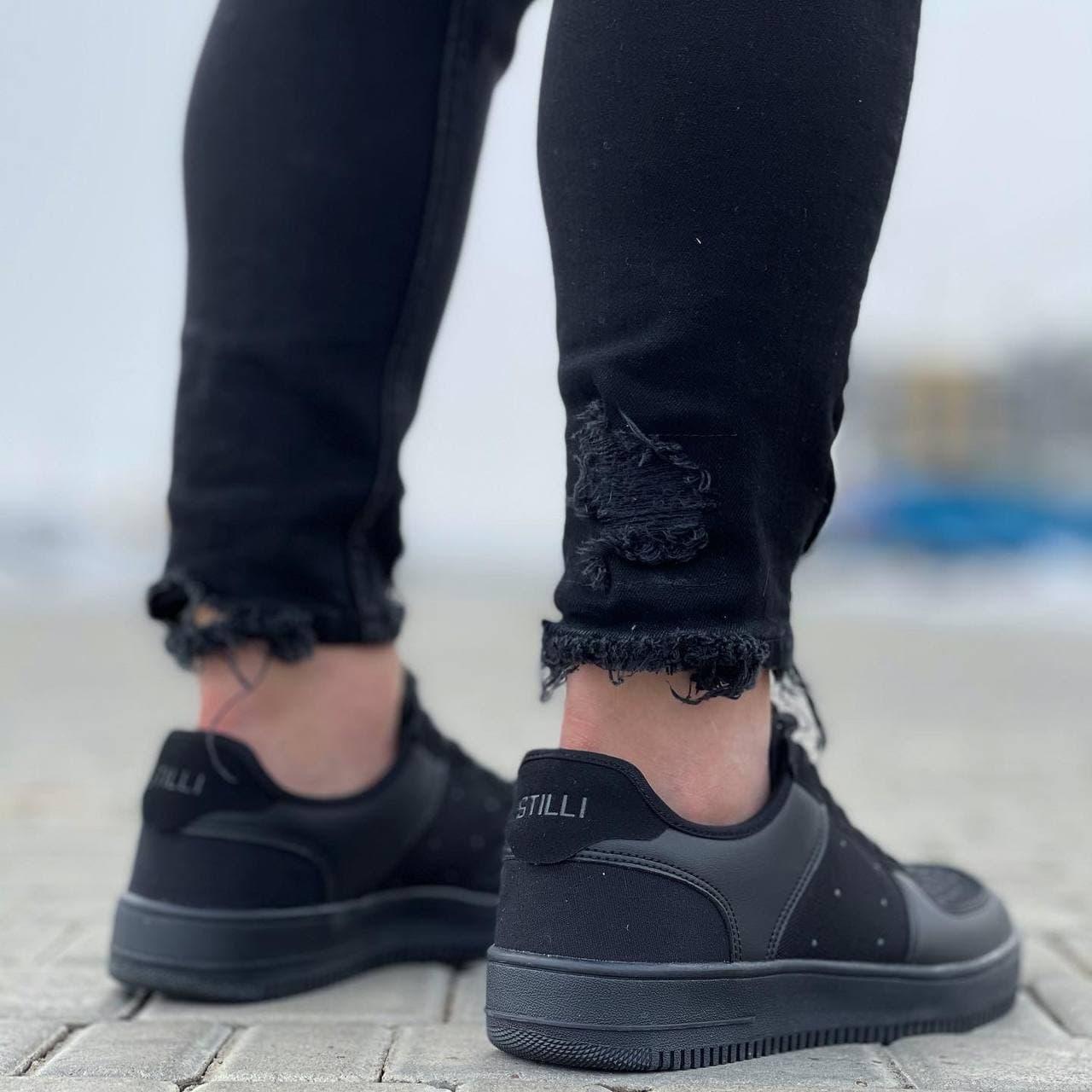 Чоловічі кросівки в стилі Stilli 41-45 білі з чорним 073
