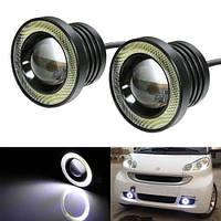 Мощные противотуманные фонари COB LED ПТФ линзы 65 мм + Ангельские глазки