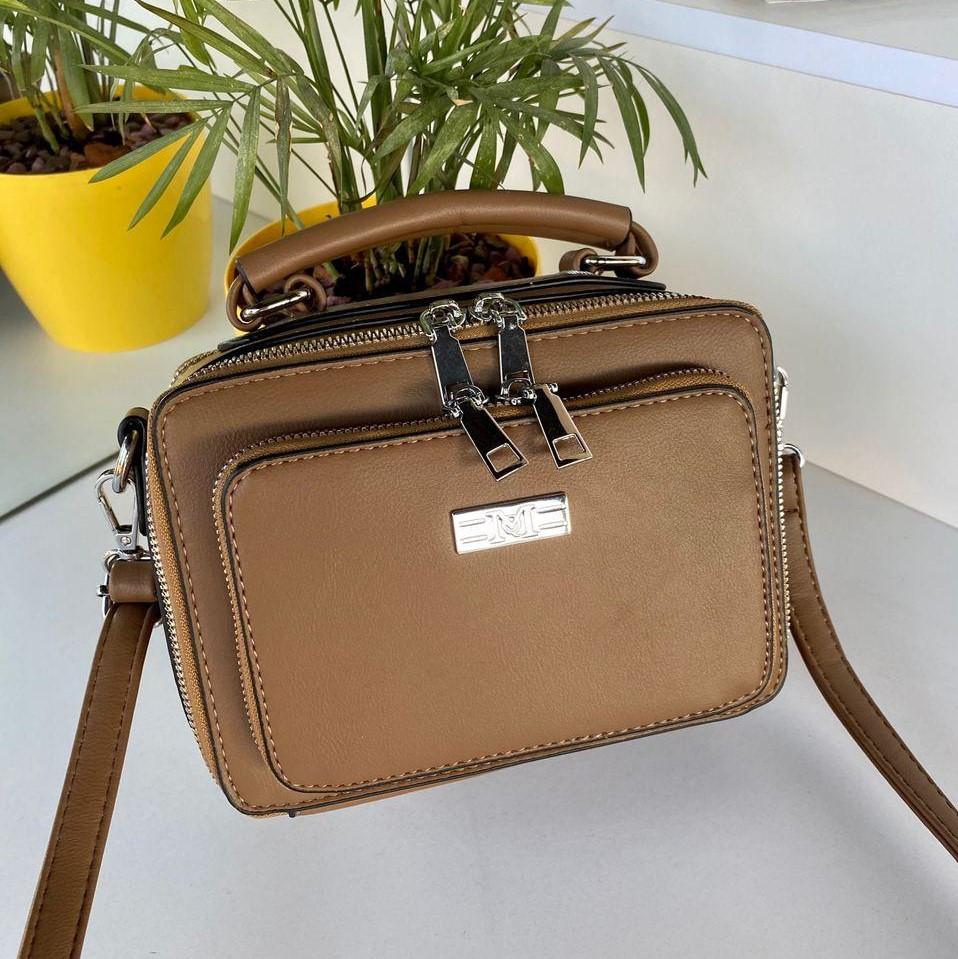 Женская сумка кросс-боди М темно-бежевая (хаки) СМФ89