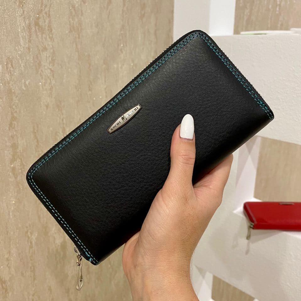 Женский кожаный кошелёк на молнии Trend черный КТ56