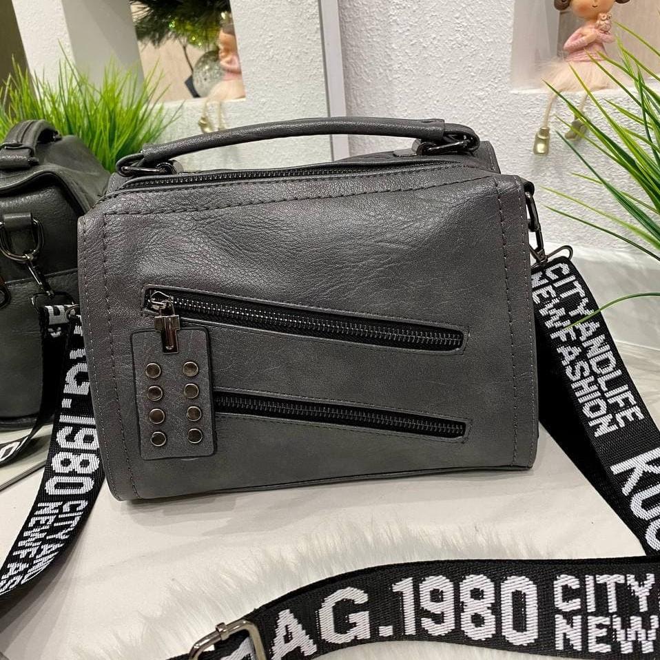 Женская сумка R&B с широким ремешком серая СРБ68