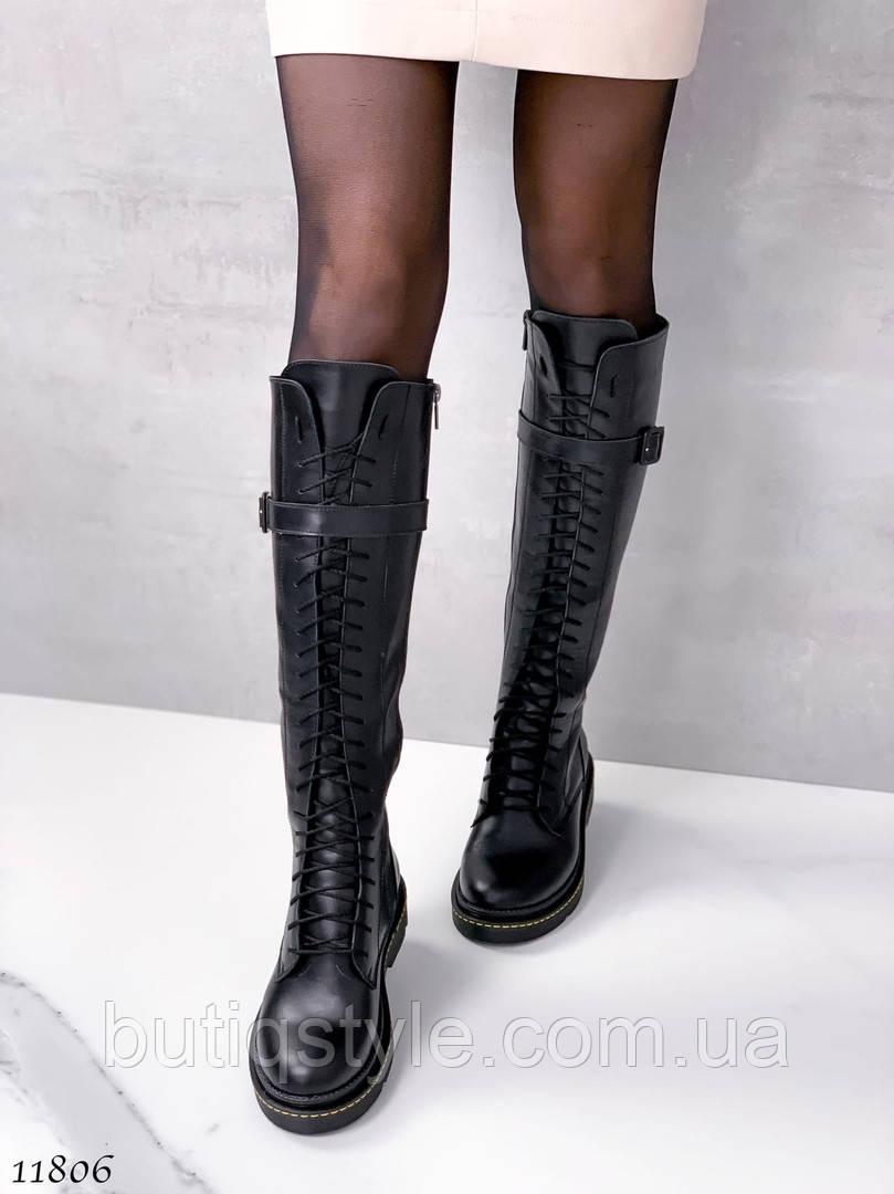 Черные сапоги натуральная кожа на низком ходу  Деми