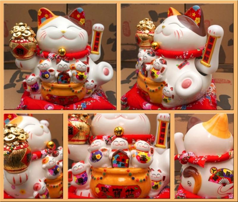 """Щасливий кіт Манэки Неко """"Сім'я"""" фаянс"""