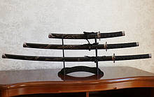 Набір з трьох самурайських мечів на підставці №5