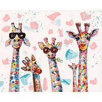 Картина раскраска по номерам на холсте - 40*50см Идейка КН4115 Весёлые жирафы