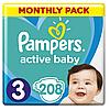 Підгузники дитячі Pampers Active Baby Midi 3 (6-10 кг) Monthly Pack 208 шт