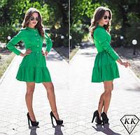 Платье халат юбка в два яруса на пуговицах зелёное