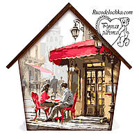 Ключниця будиночок Романтична пара за столиком, середня 18 * 23 см, ручна робота, подарунок в сім'ю