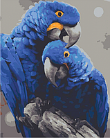 Картина по номерам 40*50 см Гиацинтовые ара раскраска антистресс