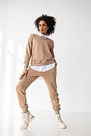 Жіночий спортивний костюм бежевий / Модный женский спортивный костюм кофта без капюшона бежевый