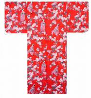 """Юката из Японии  """"Гейша и цветок сакуры"""" (искусственный шелк)"""