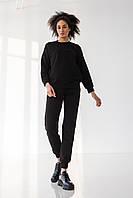 Жіночий спортивний костюм чорний / Модный женский спортивный костюм кофта без капюшона черный