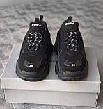 🔥 Кроссовки мужские Balenciaga Triple S Баленсиага Трипл с черные повседневные спортивные легкие, фото 9
