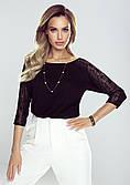 Женская блуза черного цвета с гипюром. Модель Ally Eldar.