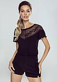 Женская блуза черного цвета с коротким рукавом. Модель Bettina Eldar.