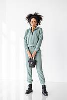 Жіночий спортивний костюм фісташка / Модный женский спортивный костюм кофта без капюшона фисташковый