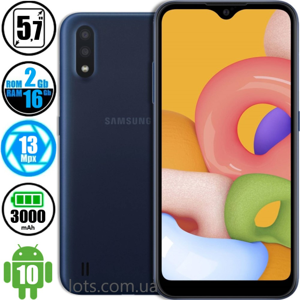 Смартфон Samsung Galaxy A01 (2/16GB) Blue - Оригінал