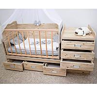 Кровать - трансформер 3 в 1 Зоряна! Люлька+столик+тумбочка+кроватка-маятник ( от 0 до подросткового возраста)