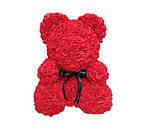 Мишко з квітів троянд висота 25 см в подарунковій коробці оригінальний подарунок, фото 2
