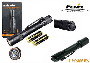 EDC ручной мини фонарь FENIX E20 V2.0 (350LM, Luminus SST20, 2*AA, IP68)