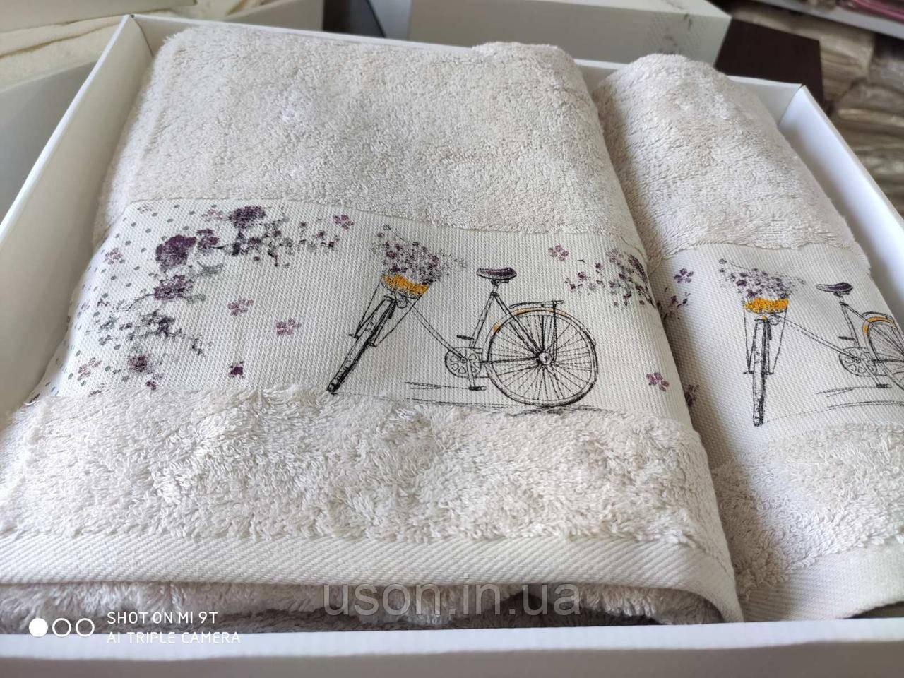 Набор махровых полотенец бамбук 50*90 и 70*140 TM PUPILLA  Турция Романтика светлый беж