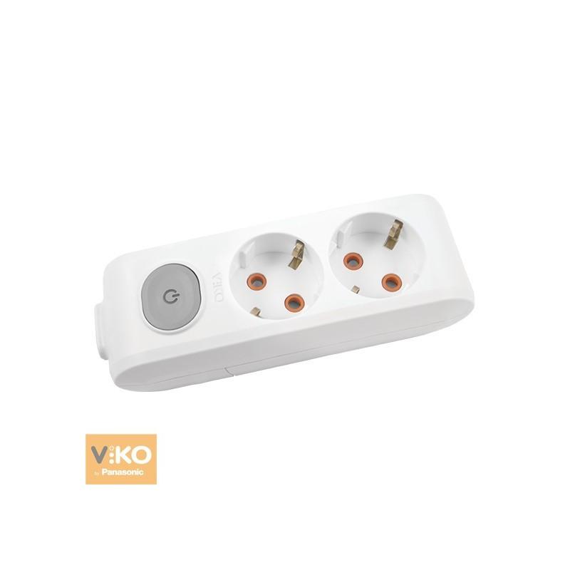 Колодка 2 гнізда з заземленням і кнопкою VIKO Multi-Let - Білий