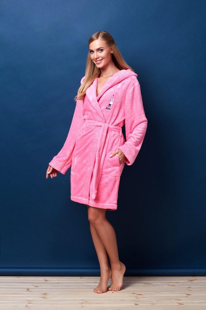 Розовый женский халат с капюшоном Размер XL