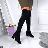 Женские демисезонные ботфорты чулок на завязках эко замш, фото 6