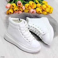 Кроссовки Ботинки зимние, женские, белые, утепленные, купить, скидка, размер 36