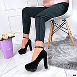Женские туфли на высоком каблуке с ремешком черные, фото 4