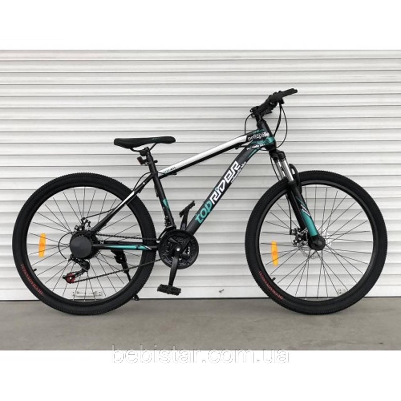 Спортивный велосипед бирюза ТopRider 26 дюймов 21скорость металлическая рама17 детям с 14 лет рост от 160см