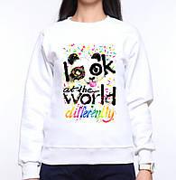 """Модный женский свитшот """"Панда """"Look at the world differently"""", Push IT"""