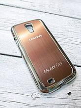 Металлический Чехол для Samsung Galaxy S4 i9500 накладка бампер противоударный коричневый