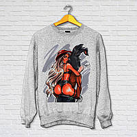 Свитшот модный с принтом Девушка на зайце, Push IT Серый
