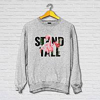 """Свитшот модный женский с принтом """"Stand tall"""" , Серый"""