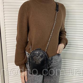 Женская кожаная сумка клатч через плечо на длинной цепочке черная