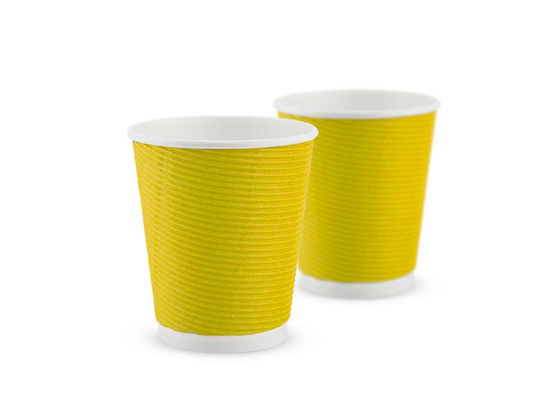 Гофростакан бумажный 180 мл, желтый, 25 шт/рук., 1375 шт/ящ.