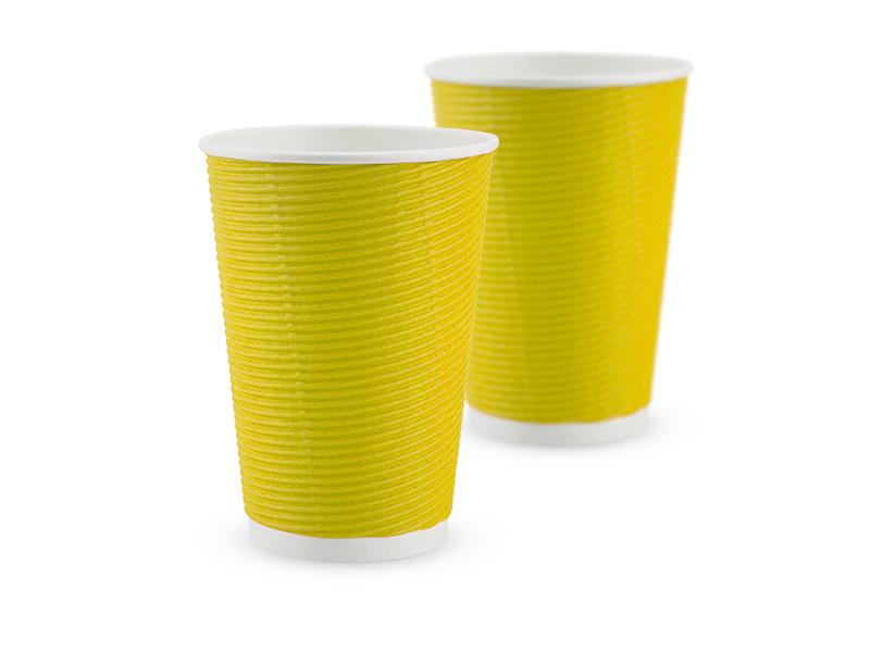 Гофростакан бумажный 340 мл, желтый, 25 шт/рук., 875 шт/ящ.