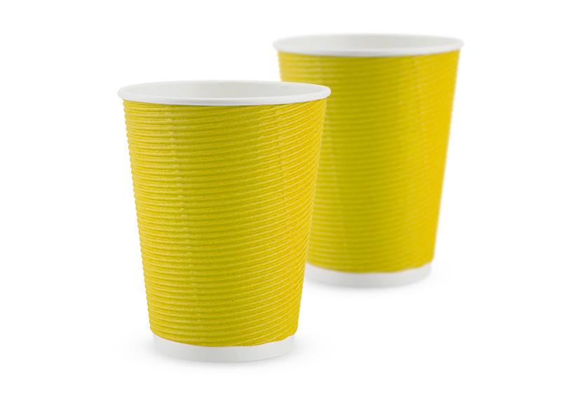 Гофростакан бумажный 410 мл, желтый, 25 шт/рук., 750 шт/ящ.