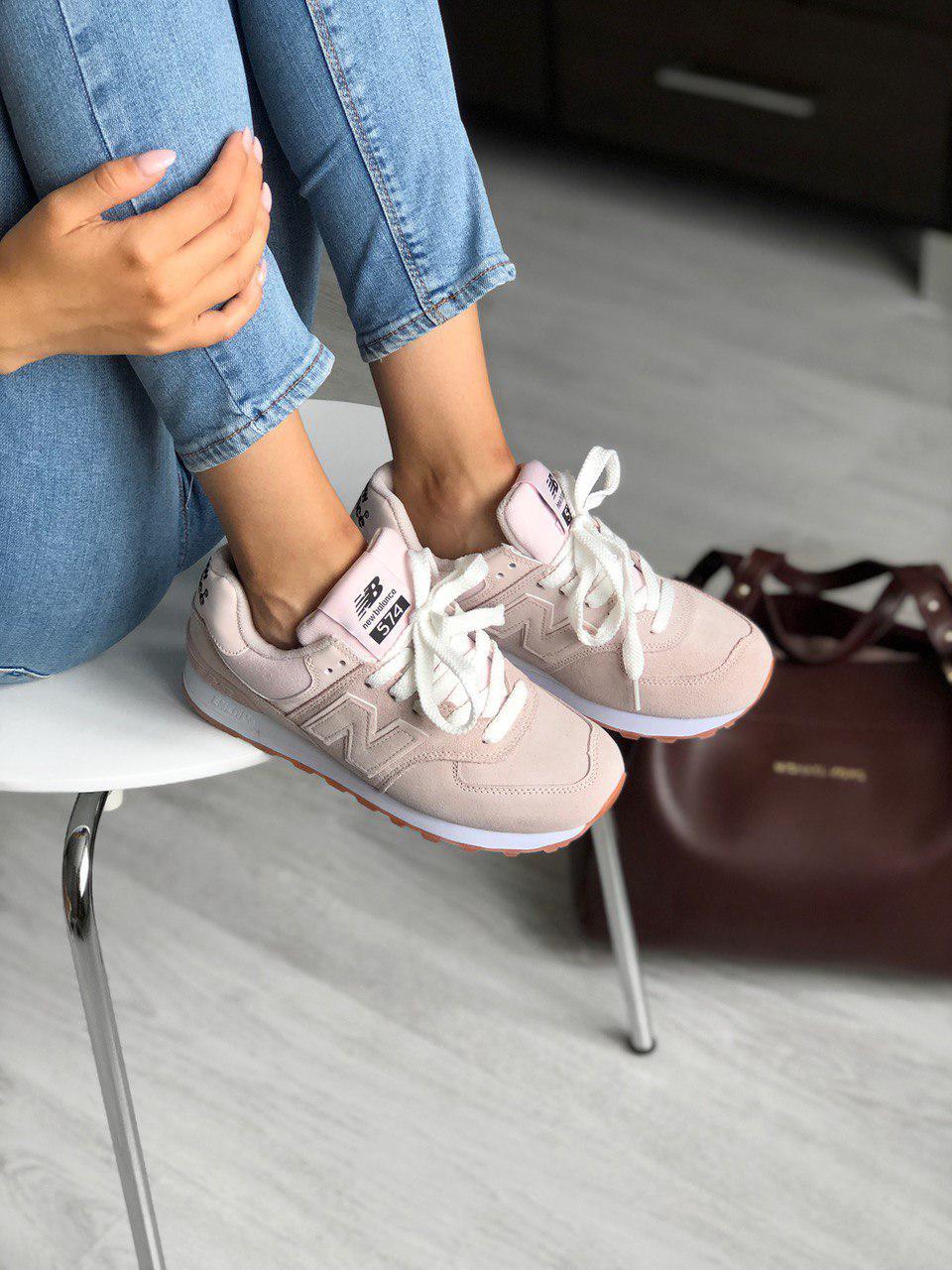 Стильные замшевые кроссовки New Balance 574 нежно розовые
