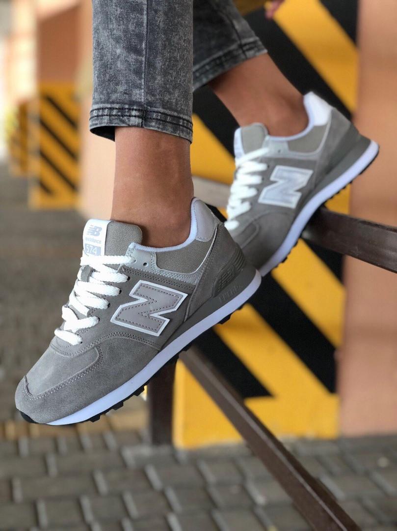 Стильні замшеві кросівки New Balance 574 сірі