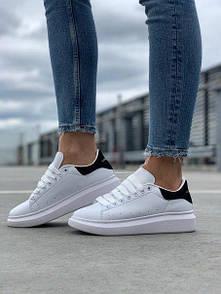 Женские кожаные кроссовки Alexander McQueen Black White