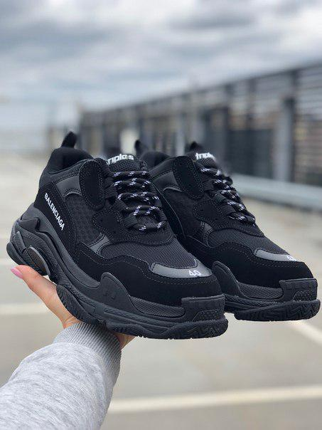 Мужские кроссовки Balenciaga Triple S All Black, 1:1 с оригиналом!