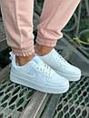 Жіночі шкіряні кросівки Air Force 1 white білі, фото 2