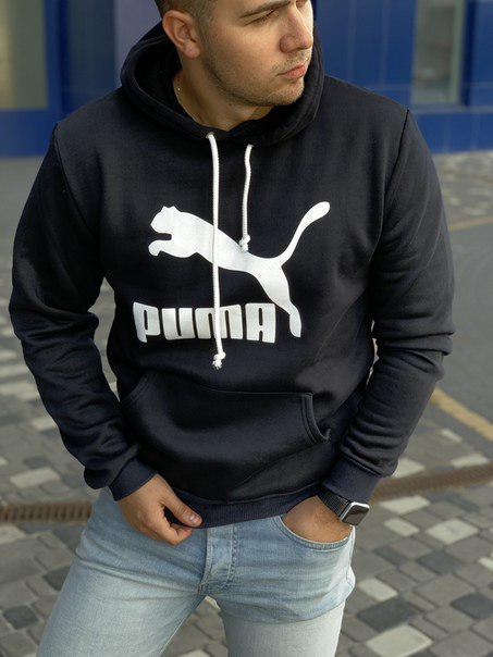 Черное худи Пума с флисом