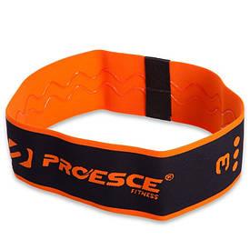 Тканинна фітнес гумка для ніг і сідниць еластична HIP LOOP (нейлон, латекс, р-р 72х8см) оранжева