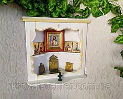 Белая угловая полка под иконы из дерева от производителя 65х23х60, белая эмаль + патина под золото, фото 2