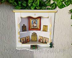 Белая угловая полка под иконы из дерева от производителя 65х23х60, белая эмаль + патина под золото