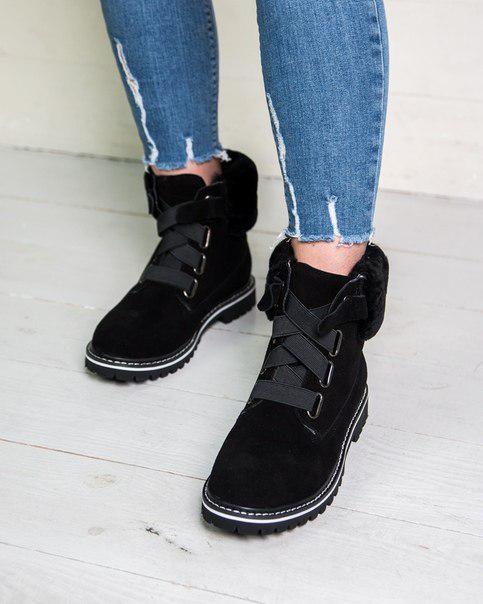 Женские оригинальные замшевые ботинки (черные, коричневые, розовые, серые)