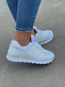 Белые кроссовки New Balance 574 White из кожи